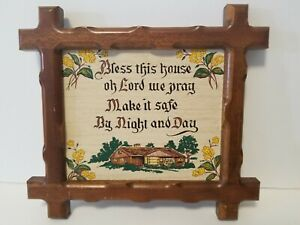 Woodcraftery Vintage Bless This House.. Wooden Framed Picture