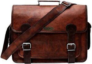 "Rustic Handmade Full Grain Leather Messenger Laptop Briefcase Cross body Bag 18"""