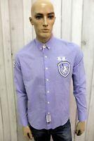 LA MARTINA Taglia S Camicia Uomo Cotone Blu Shirt Chemise Casual Manica Lunga