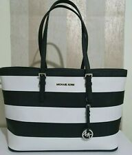 Michael Kors black and white extra large saffiano leather shoulder tote bag
