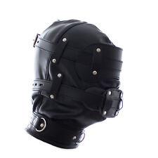 Leather Hood Full Mask Eyes & Soft gag Detachable L001