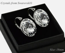 Sterling Silver Earrings Crystal (Clear)18mm Rivoli Crystals from Swarovski®