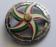 """Vintage Belt Buckle Mexican Coat of Arms Spinning Flag Colors Star 4.25"""" Metal"""