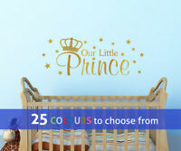 OUR LITTLE PRINCE royal crown stars wall sticker art decal baby boys nursery