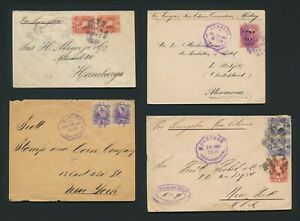 1891-1894 GUATEMALA COVERS TO NEW YORK & GERMANY, QUETZAL FRANKING