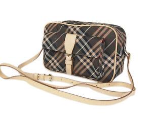 BURBERRY BLUE LABEL Nylon Canvas Leather Crossbody Shoulder Bag BS0506