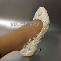 su.cheny Flat/4cm/7.5cm heel white ivory pearls flats lace Wedding Bridal shoes