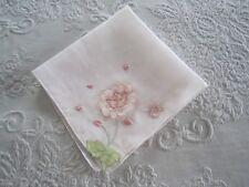 Vintage Cotton Embroidered Applique Handkerchief Hankie & Free Shipping