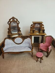 Vintage Wooden Dollhouse Furniture Lot Living Room Well Made Fireplace Sofa Ect