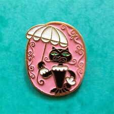 USSR Vintage Brooch Button CHARMING KITTY WITH UMBRELLA. Chat avec Ombrelle.