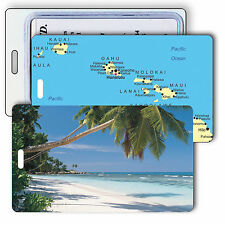 Lenticular Travel Luggage Bag Travel Tag - Beach, Map of Hawaii LT01-226