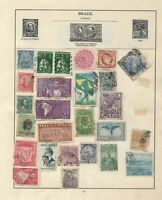 BRAZIL Stamps on 3 Pages from Old Stamp albums South America Unchecked