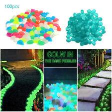 New listing 100pcs Glow in the Dark Pebbles Stone For Home Garden Walkway Aquarium Fish Tank