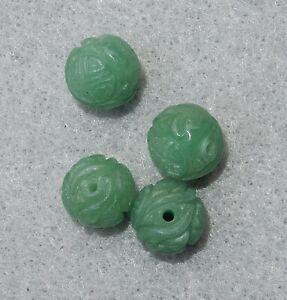 4 VINTAGE CHINESE HAND CARVED GREEN AVENTURINE LONGEVITY SHOU BEADS 11.5mm