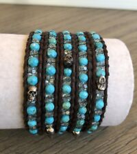 New Auth Chan Luu Turquoise Mix Skull Five Wrap Bracelet on Dark Brown Leather