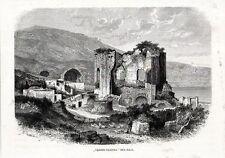 Stampa antica BAIA Tempio di Venere Napoli Bacoli 1880 Old print Engraving