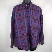 Vintage 80s Levis Colorgraphs Mens Purple Blue Plaid Button Down Shirt Size L