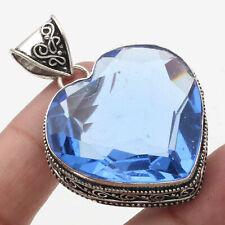 "Blue Quartz Vintage Style Heart Style Pendant 1.9"" Gemstone Jewelry W13297"