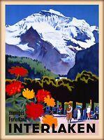 1935 Interlaken Switzerland Swiss Alps Vintage Travel Advertisement Art Poster