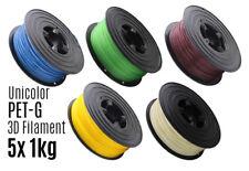 5x 3D Filament PETG 1kg 1,75mm Unicolor Drucker Printer Spule Rolle 1000g PET-G