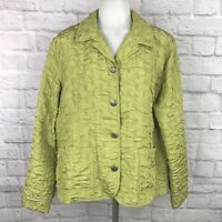 Chico's Size 2 (Large) Jacket Green Textured Button-Front Large