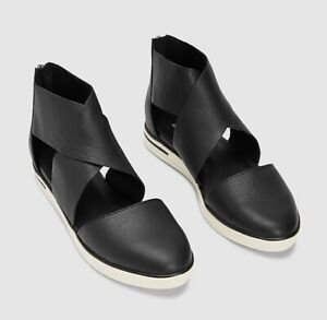 Eileen Fisher CARVER WASHED LEATHER SNEAKER SANDAL  New In Box Black Size 8