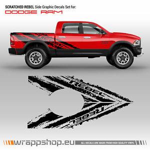 SCRATCHED REBEL Side Graphic for Dodge RAM
