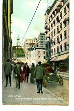 Third Street Toward Angel's Flight-Car-Los Angeles-California-Vintage Postcard