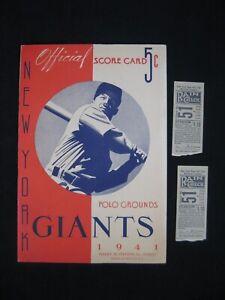 Vtg 1941 New York Giants Baseball Official Score Card & 2 Rain Check Tickets