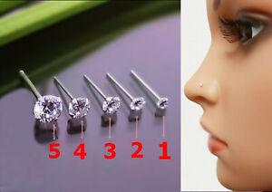 925 Silber Mini - XL Zirkonia Stein Nasenpiercing Nasenstecker Stecker Piercing