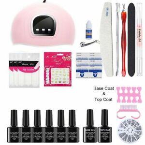 Pro UV Nail Gel Polish Set With 36W Lamp Glitter Gift Starter DIY Manicure Kit