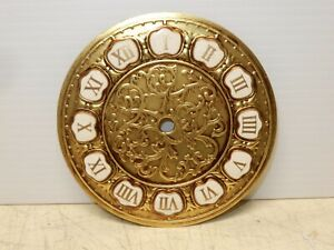 VINTAGE BRASS AND PORCELAIN 5 INCH CLOCK DIAL