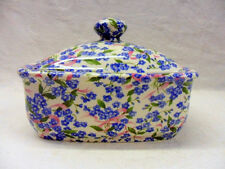 Forget me not ditsy chintz butterdish by Heron Cross Pottery