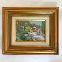 Vintage Needlepoint Stream Mill forest trees completed finished retro framed