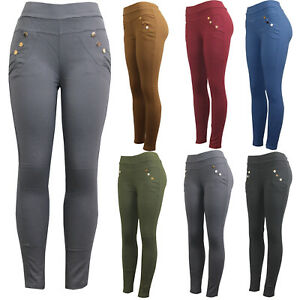 Womens Plain Skinny Tight Fit Quality Pockets Stretchy Jeans Jeggings Trousers