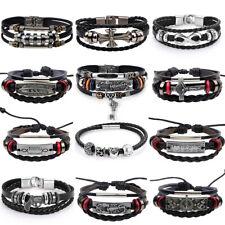 Adjustable Genuine Leather Bracelet Bangle Wristband Punk Cuff Beaded Men Women