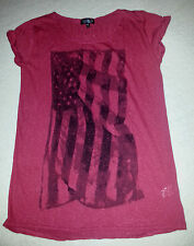 TOPSHOP DARK RED BURGANDY USA FLAG TSHIRT SIZE 10