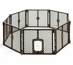 North States Mypet Petyard Passage 8 Panel Pet Enclosure with Lockable Pet Door