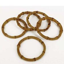 """Natural Small Real Bamboo Bag Handles (1 pair) 4"""" Circular Small BH36/s"""