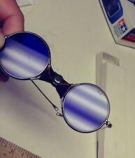 COBALT BLUE GLASS GOGGLES, SUNGLASSES, ROUND LENS C2, LEATHER WRAP, STEAMPUNK
