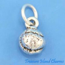 SMALL TENNIS BALL SOLID 3D .925 Sterling Silver Charm MADE IN USA
