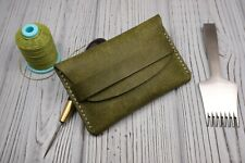 Leather minimalits wallet, card holder Italian leather Handmade Pueblo Olive