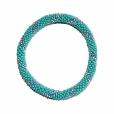 Turquoise Blue and Silver Crocheted Beaded Bracelet,Czech Seed Beads,Nepal,PB325
