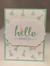 "Card Kit Set Of 4 Stampin Up Hello ""Birthday Boy"" Pool Party Apricot Appeal"