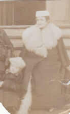 1910s Mother with daughter in winter coats furs fashion Russian antique photo