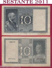 ITALIA ITALY  10 LIRE IMPERO 1939 XVIII DITTATURA FASCISTA P. 25c QFDS / AUNC *