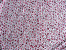 FABRIC STRETCH FUNKY RED WHITE PINK HEARTS WITH STRING TYPE THREADS 64 X 38 RARE