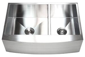 """33"""" Curve Apron Farmhouse Kitchen Sink Double Bowl 60/40"""
