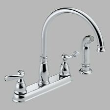 Delta Windemere 21996LF Double Handle Kitchen Faucet with Side Spray, Chrome