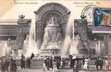 MARSEILLE expo internationale d'électricité 1908 3 fontaines luminuses timbrée